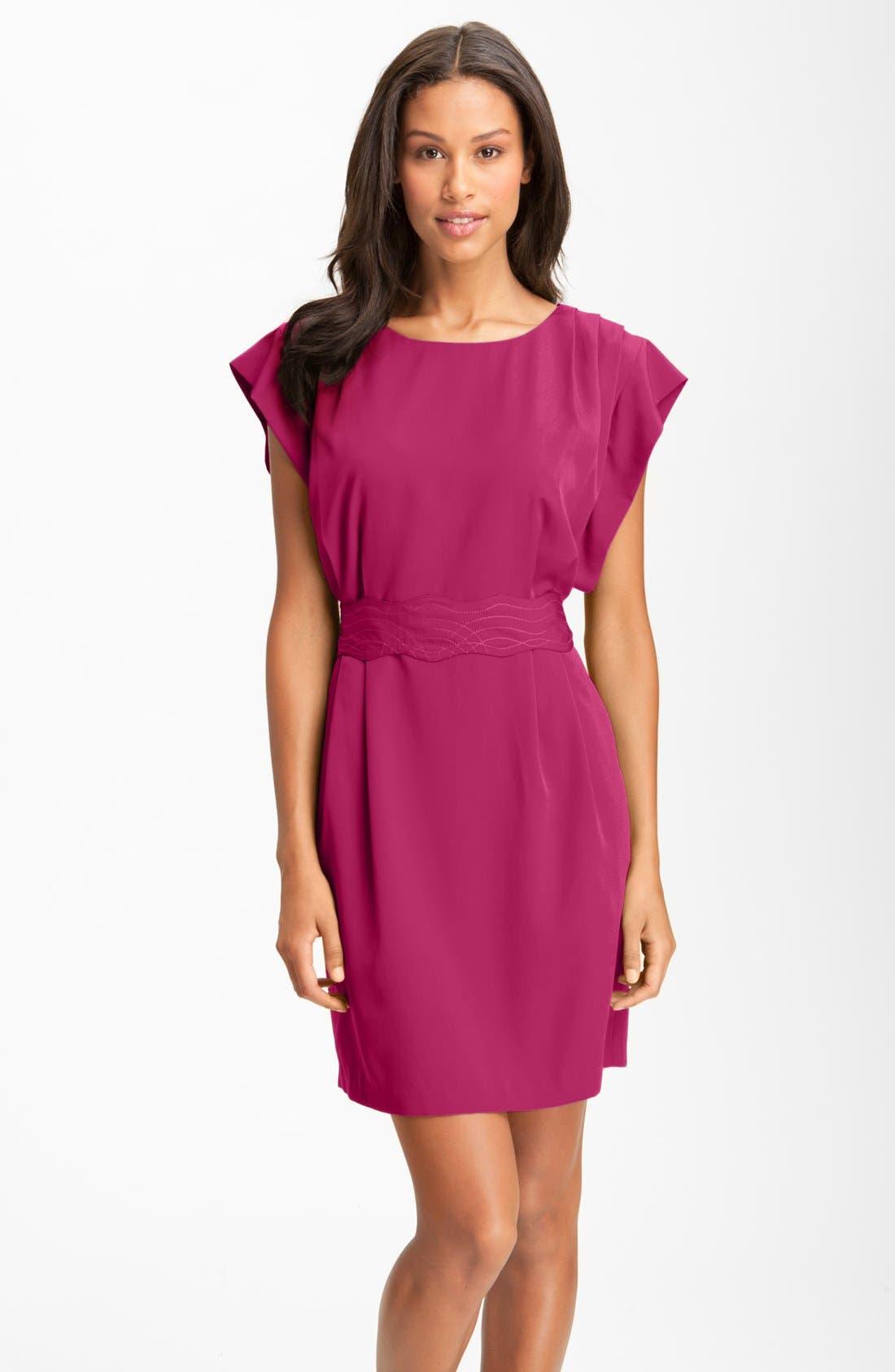 Main Image - Eliza J Drape Sleeve Sash Belt Dress