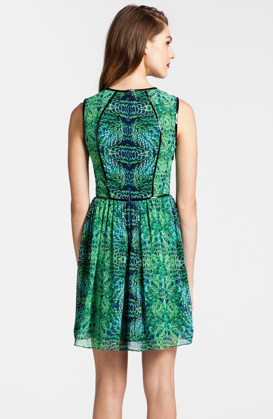 Alternate Image 2  - Cynthia Steffe Faux Leather Piping Print Chiffon Fit & Flare Dress