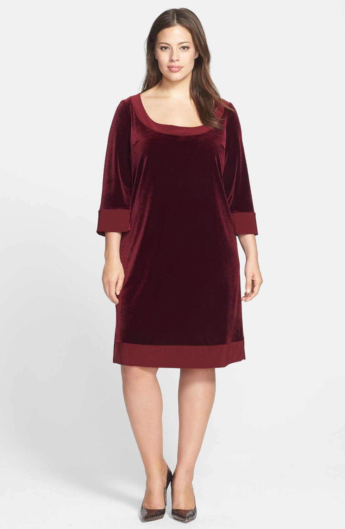 Main Image - ABS by Allen Schwartz Velvet Shift Dress (Plus Size)