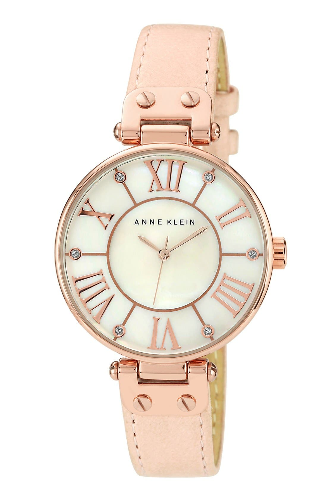 Alternate Image 1 Selected - Anne Klein Round Roman Numeral Watch, 34mm