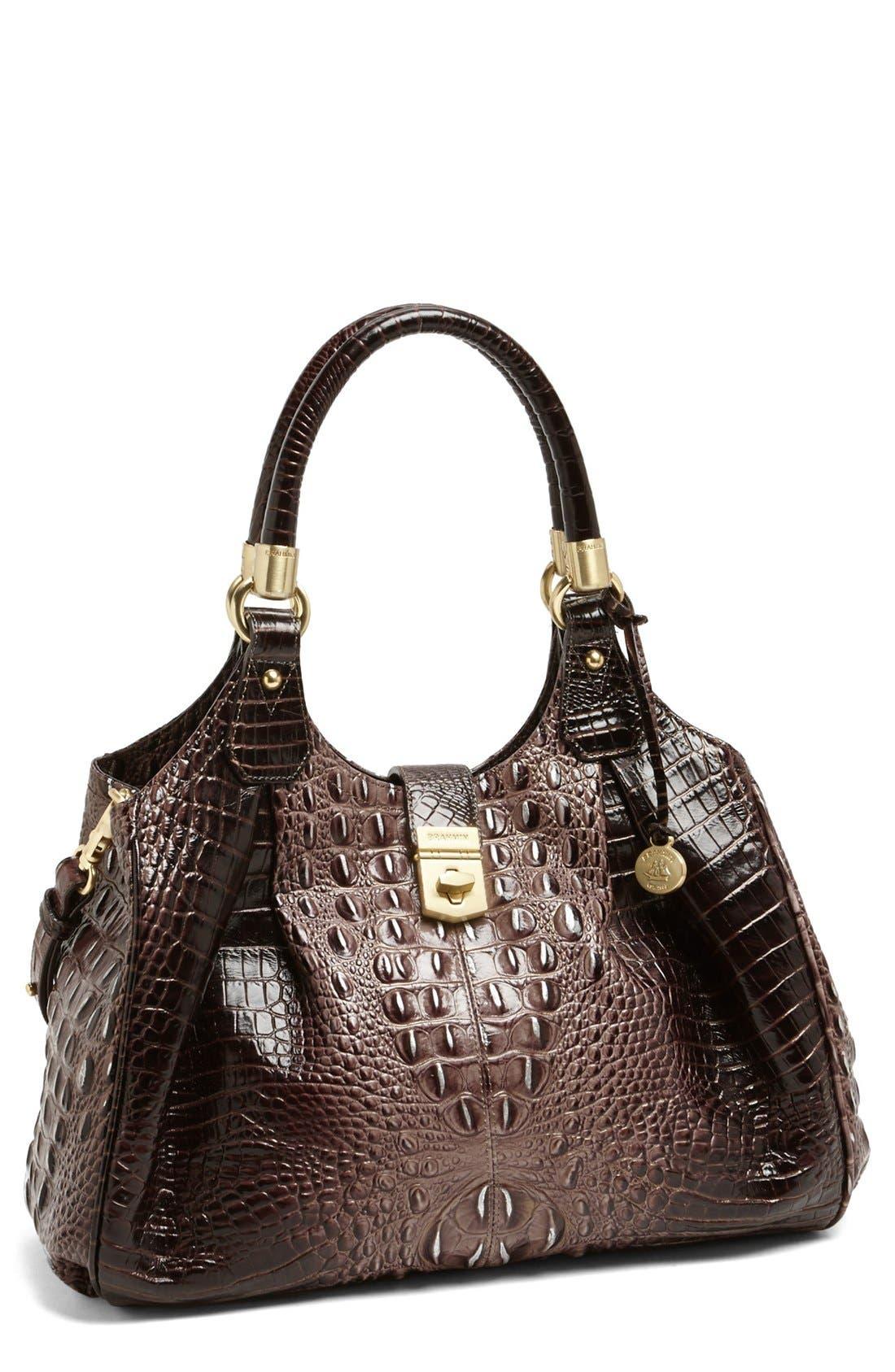 Alternate Image 1 Selected - Brahmin Elisa Croc Embossed Leather Shoulder Bag
