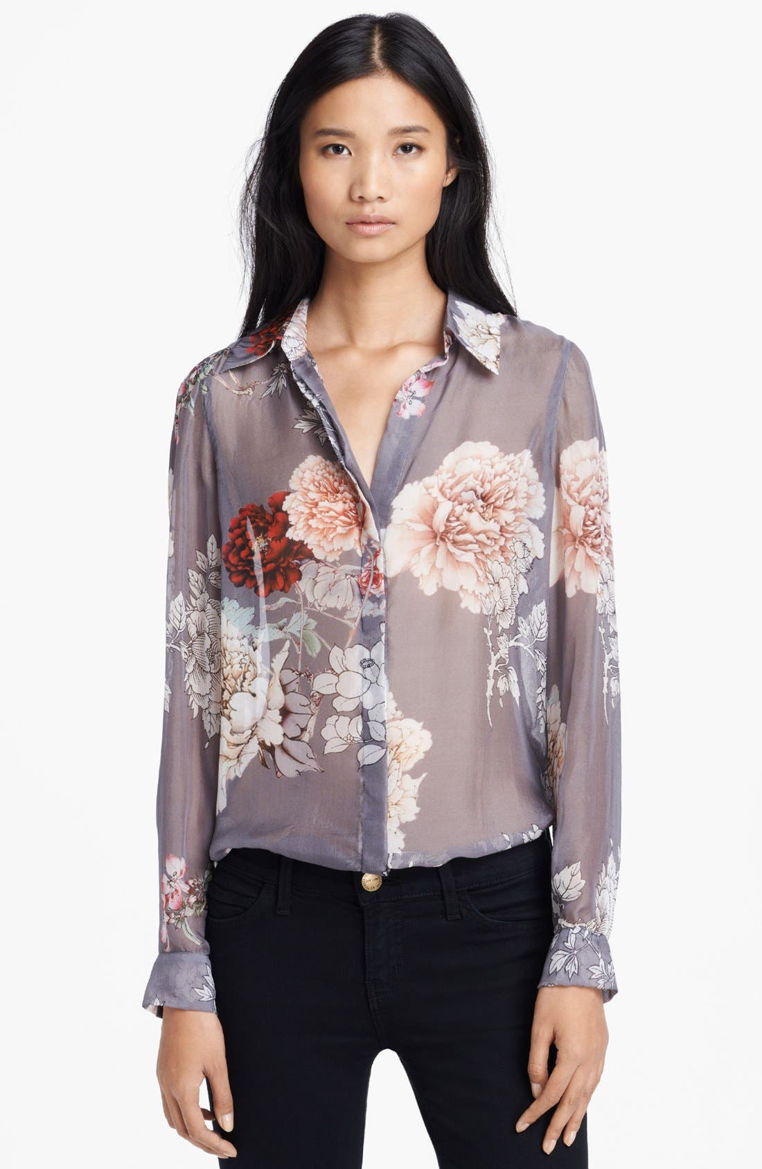 Alternate Image 1 Selected - L'AGENCE Floral Print Silk Blouse