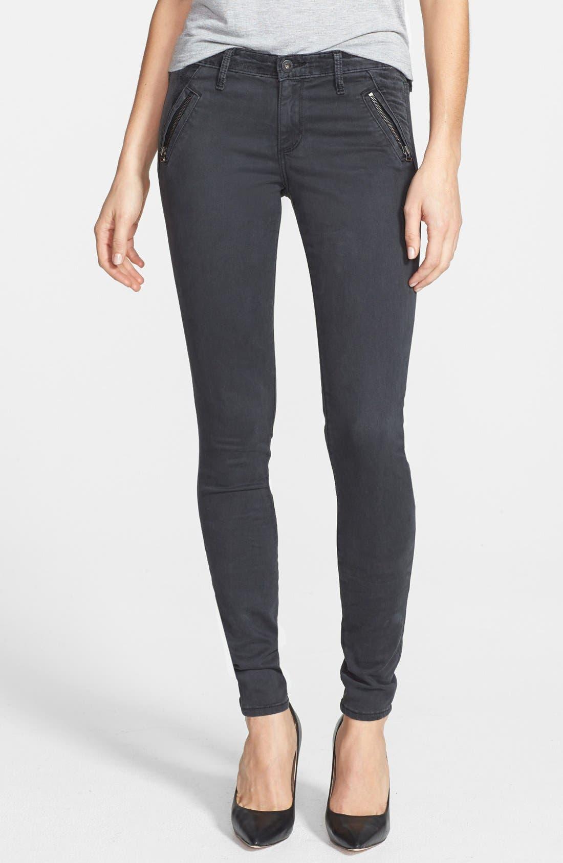 Alternate Image 1 Selected - AG Zip Pocket Sateen Skinny Jeans (Sulfur Dark Charcoal)