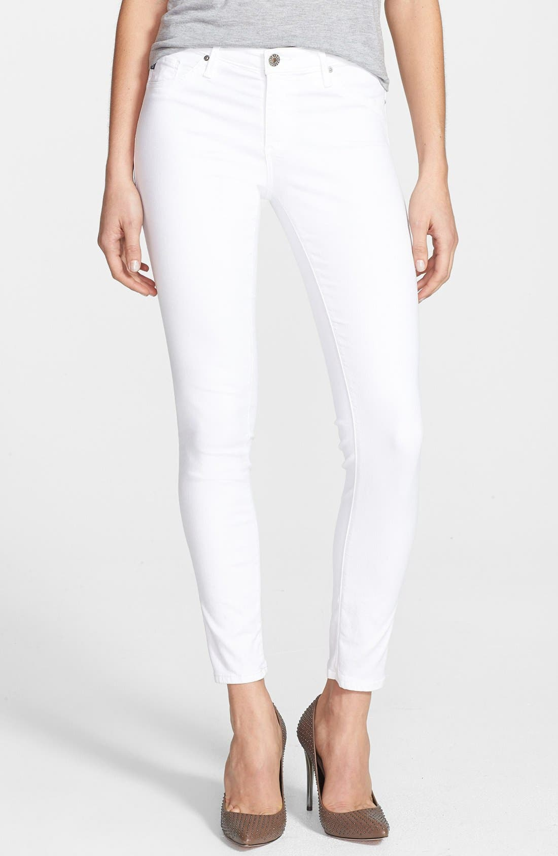 'The Legging' Ankle Skinny Jeans,                         Main,                         color, White White