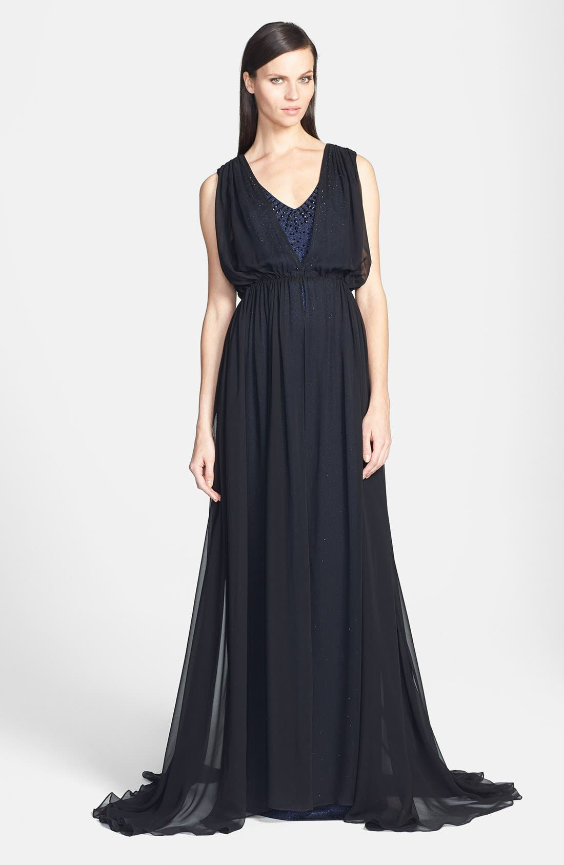 Main Image - St. John Collection Sparkle Milano Knit Gown with Silk Chiffon Overlay
