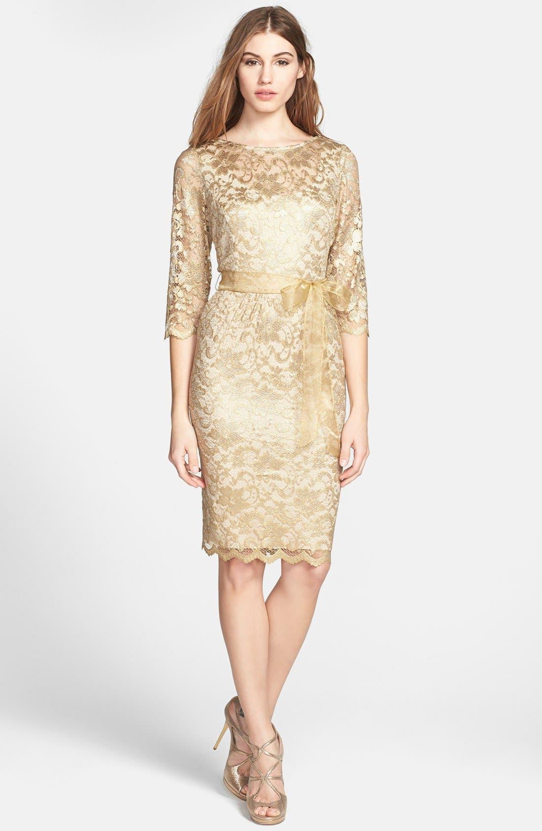 Alternate Image 1 Selected - Alex Evenings Illusion Sleeve Lace Dress (Petite)