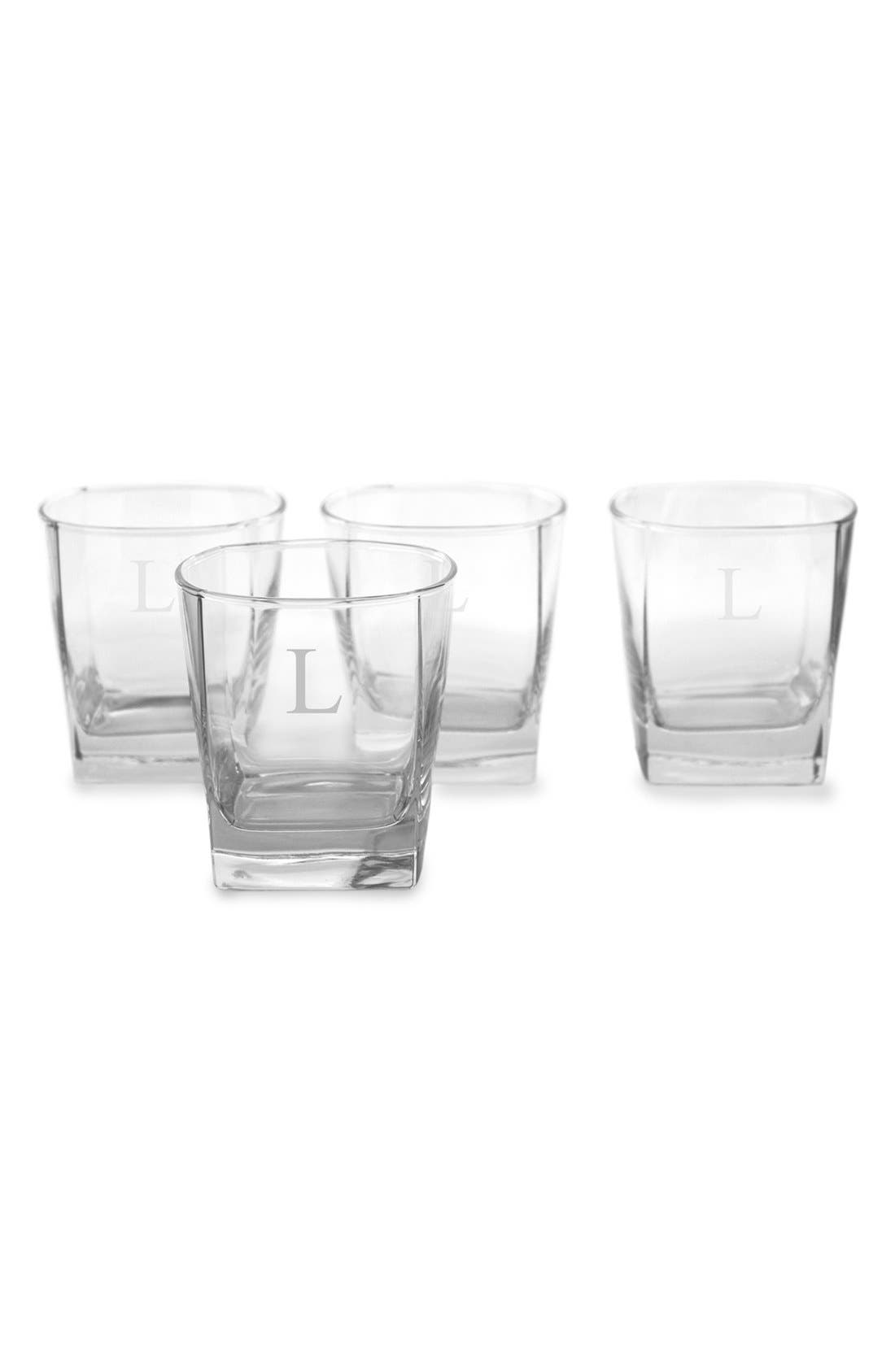 Alternate Image 1 Selected - Cathy's Concepts Monogram Rocks Glasses (Set of 4)