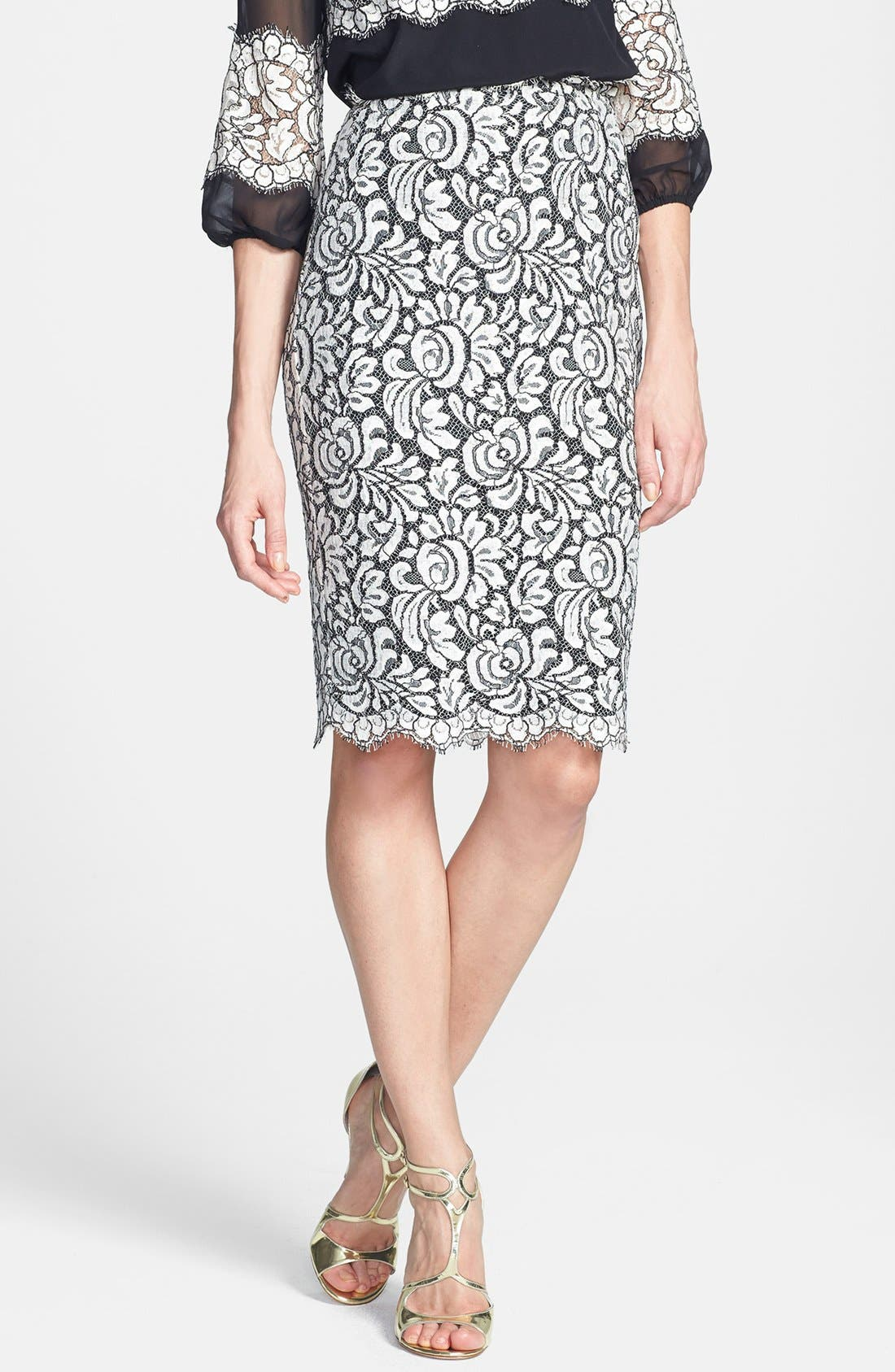 Main Image - St. John Collection Scallop Hem Graphic Lace Pencil Skirt