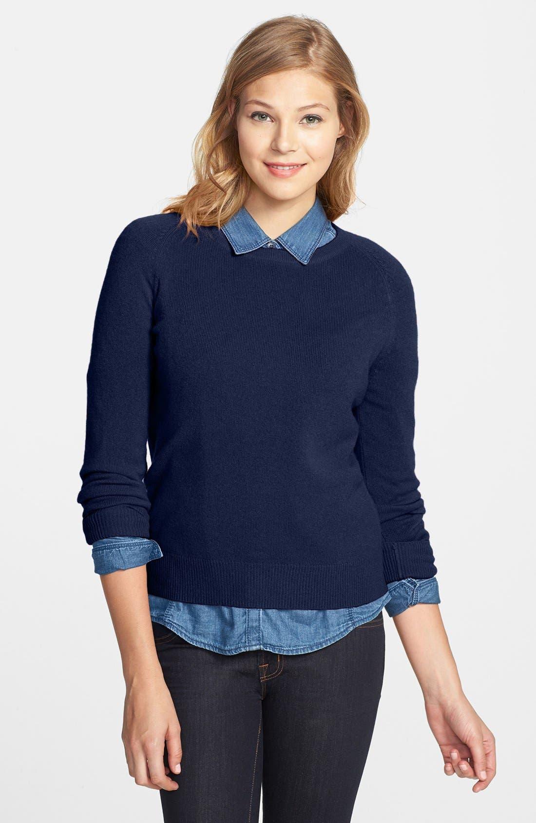 Alternate Image 1 Selected - Halogen® Long Sleeve Crewneck Cashmere Sweater