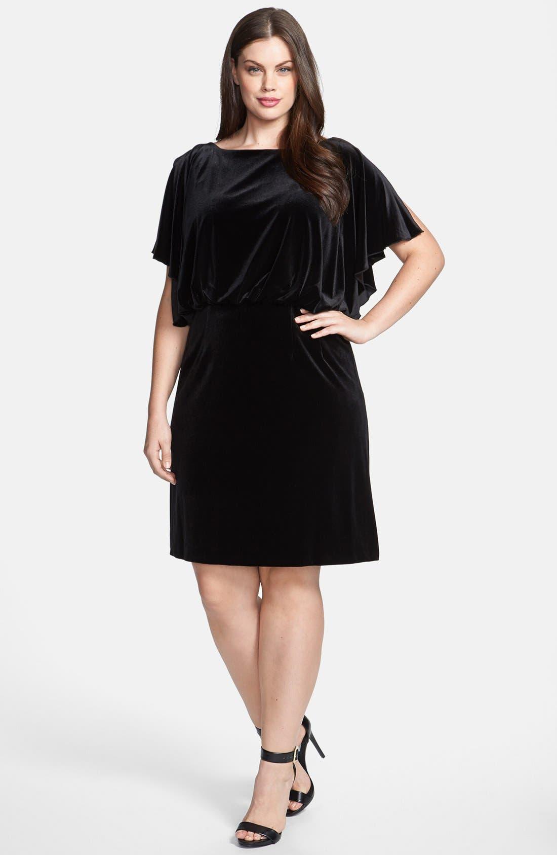 Alternate Image 1 Selected - Jessica Simpson Velvet Batwing Blouson Dress (Plus Size)