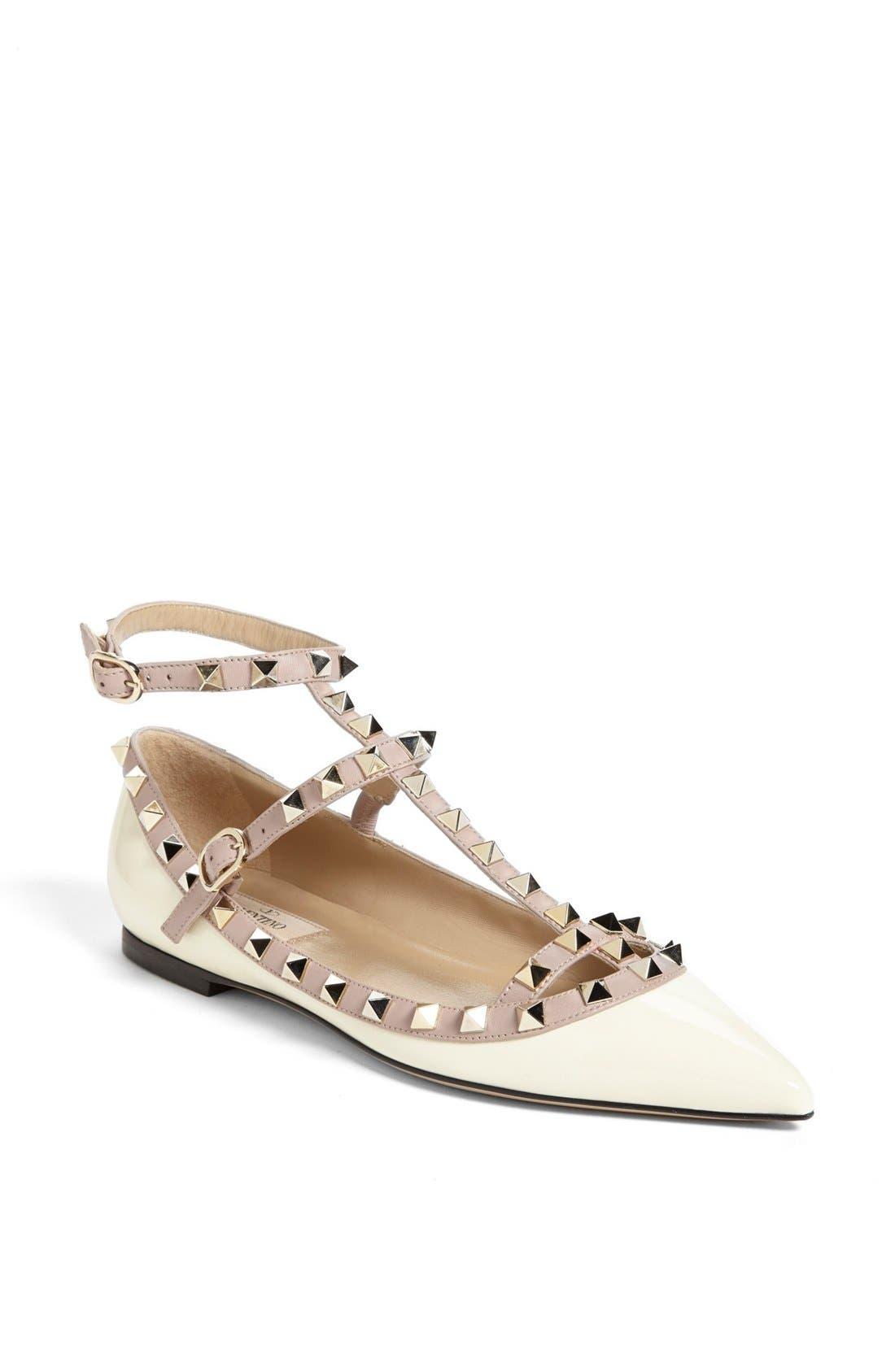 Main Image - VALENTINO GARAVANI 'Rockstud' Double Ankle Strap Ballet Flat
