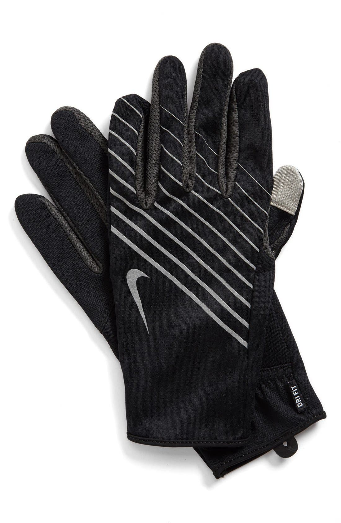 'Tech' Dri-FIT Running Gloves,                             Main thumbnail 1, color,                             Black/ Anthracite