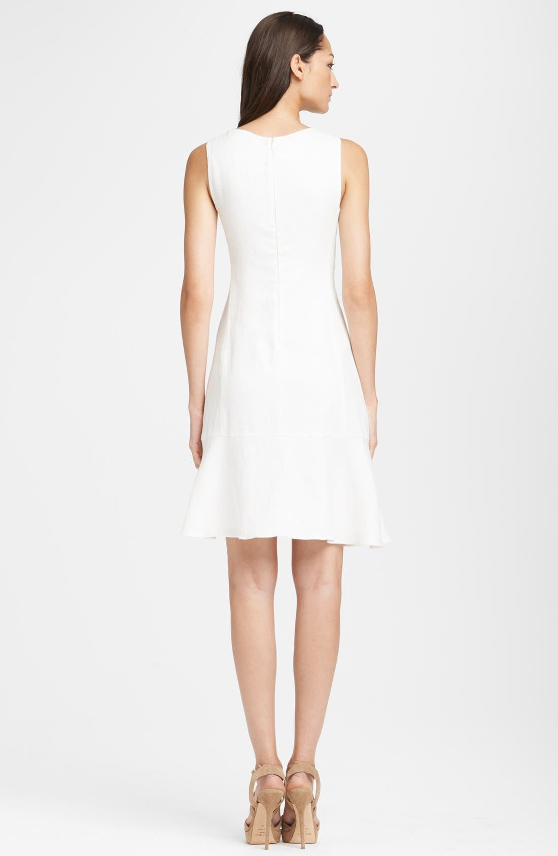 Alternate Image 2  - Armani Collezioni Sleeveless Flounce Skirt Linen Dress