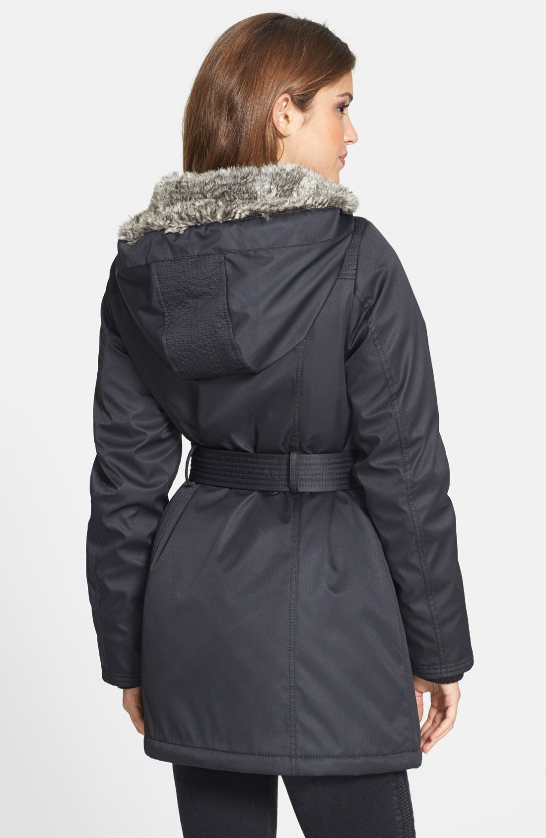 Alternate Image 2  - kensie Belted Puffer Coat with Faux Fur Trim