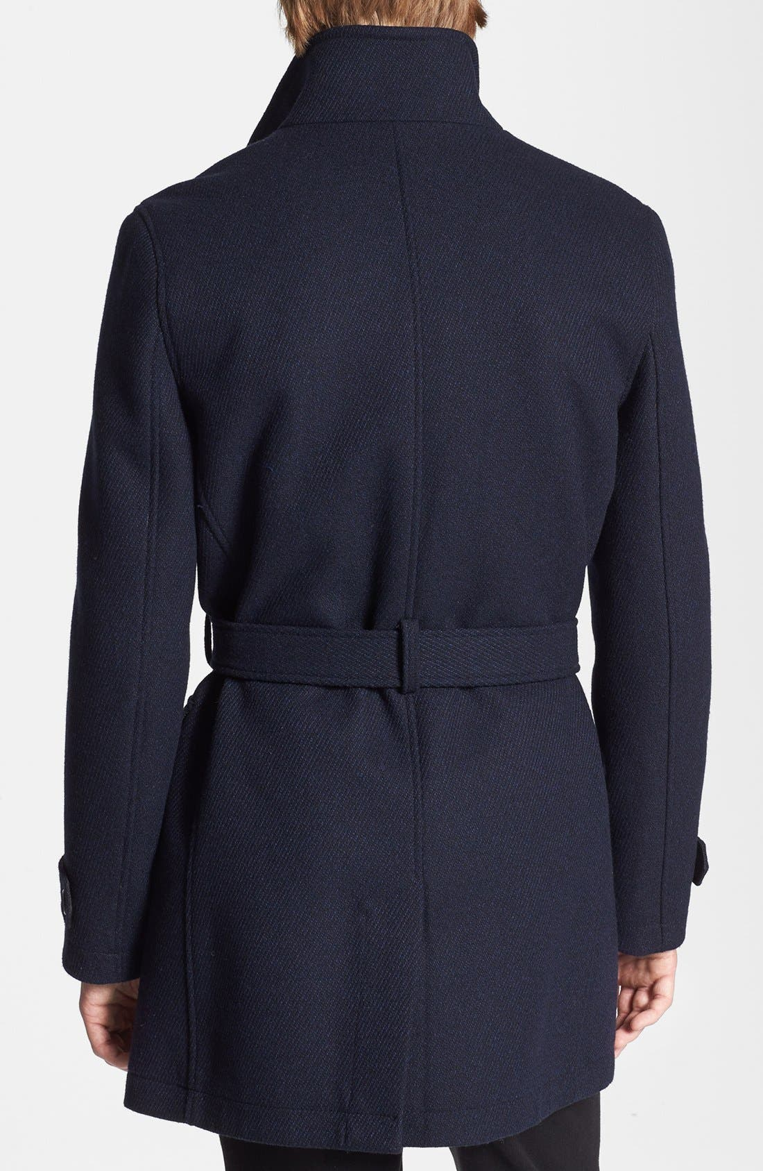 Double Breasted Wool Blend Trench Coat,                             Alternate thumbnail 2, color,                             Navy