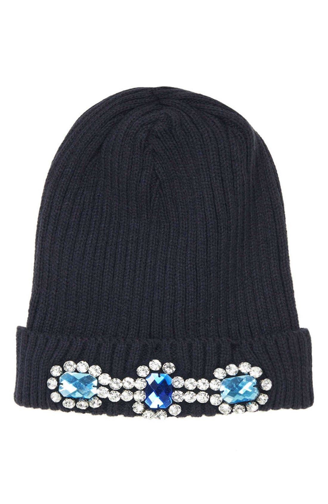 Alternate Image 1 Selected - Topshop Embellished Ribbed Beanie