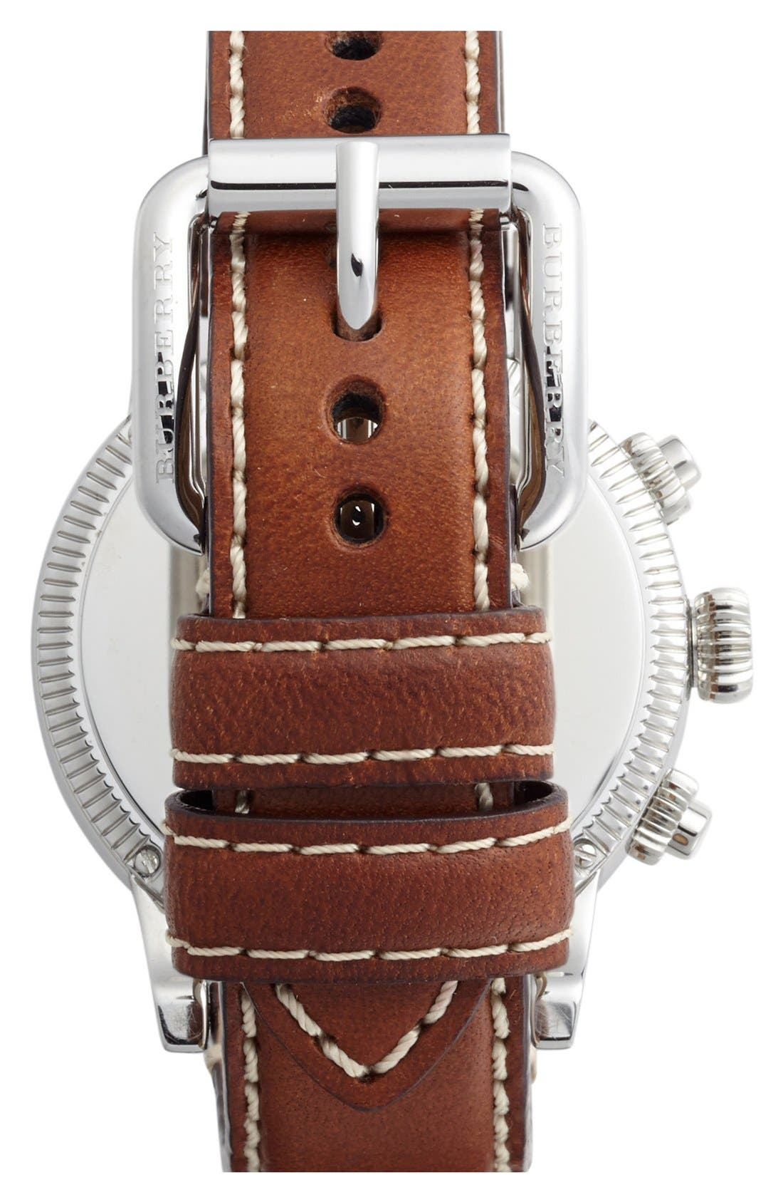 Alternate Image 2  - Burberry Round Leather Strap Watch, 42mm