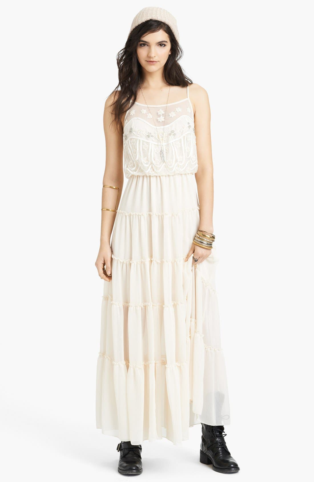 Main Image - Free People 'Penny' Lace & Georgette Maxi Dress