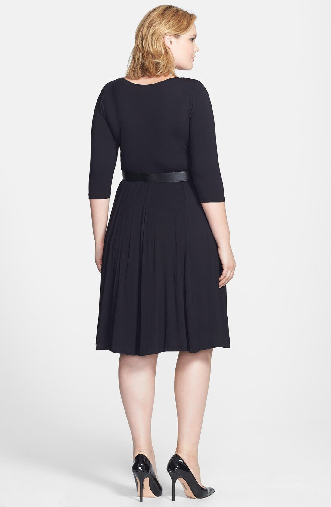 Alternate Image 2  - Calvin Klein Belted Jersey Fit & Flare Dress (Plus Size)