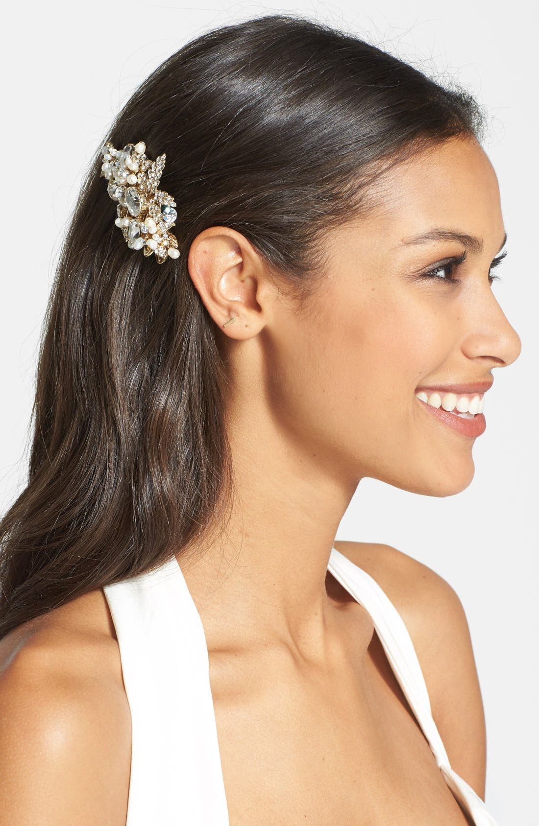 Main Image - Wedding Belles New York 'Luella' Czech Crystal & Freshwater Pearl Clip (Nordstrom Exclusive)
