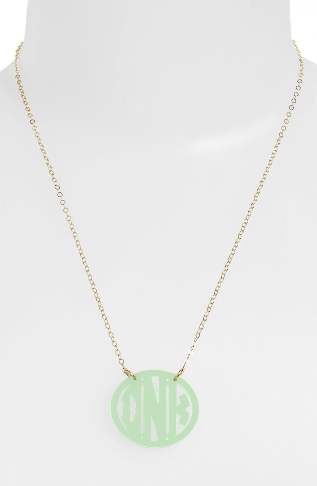 MOON AND LOLA Small Personalized Monogram Pendant Necklace (Nordstrom Exclusive) in Mint/ Gold