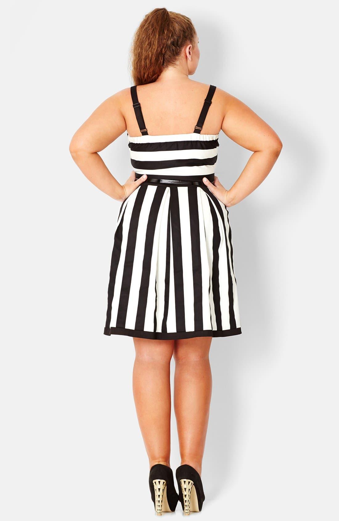 Alternate Image 2  - City Chic Stripe Stretch Cotton Party Dress (Plus Size)