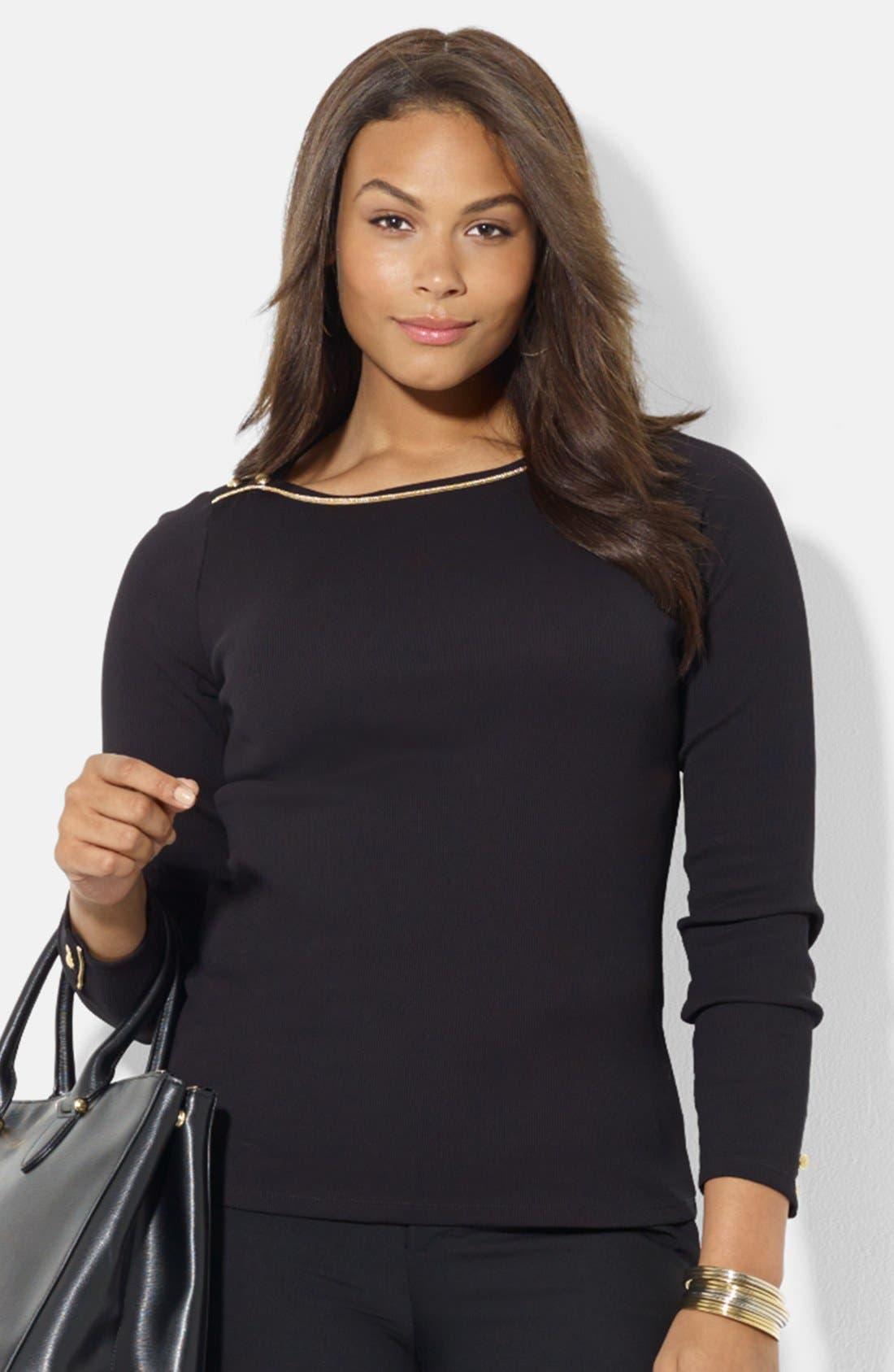 Alternate Image 1 Selected - Lauren Ralph Lauren Cotton Top (Plus Size)