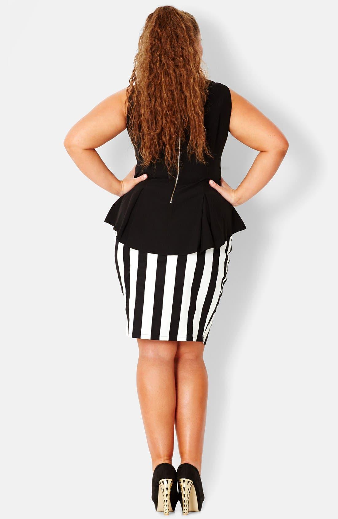 Alternate Image 2  - City Chic Vertical Stripe Tube Skirt (Plus Size)