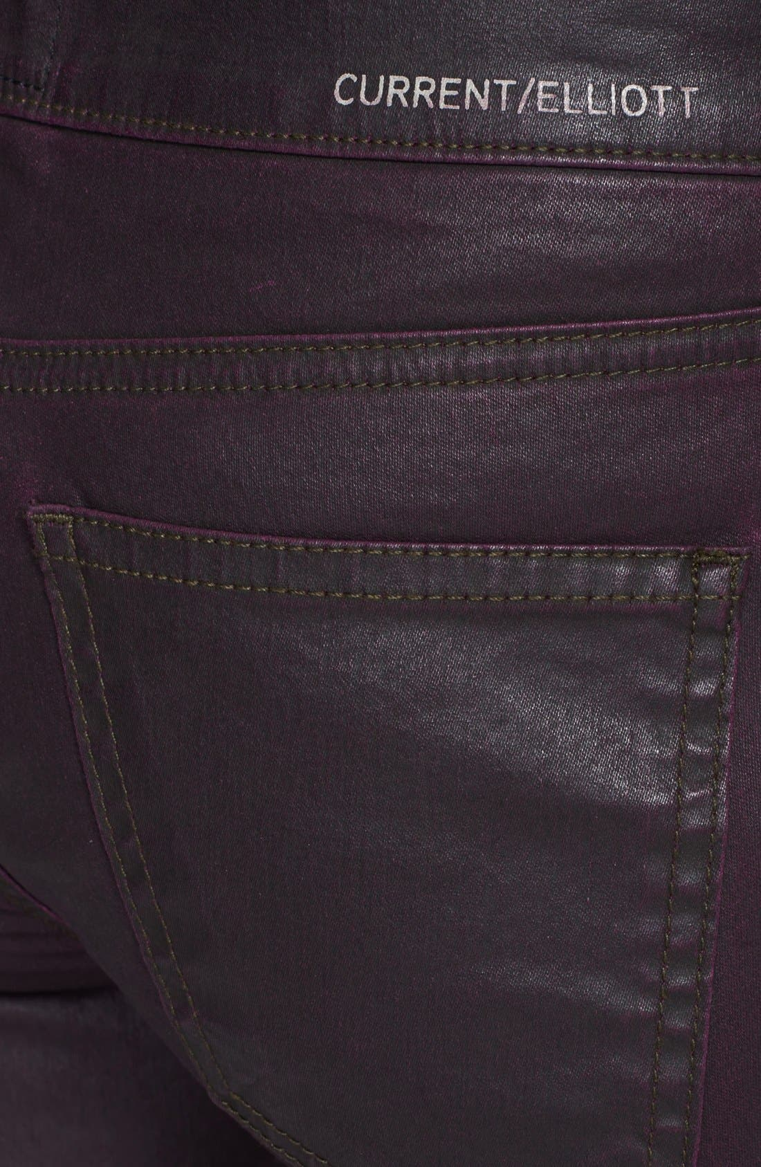 Alternate Image 3  - Current/Elliott 'The Soho Zip' Skinny Coated Jeans