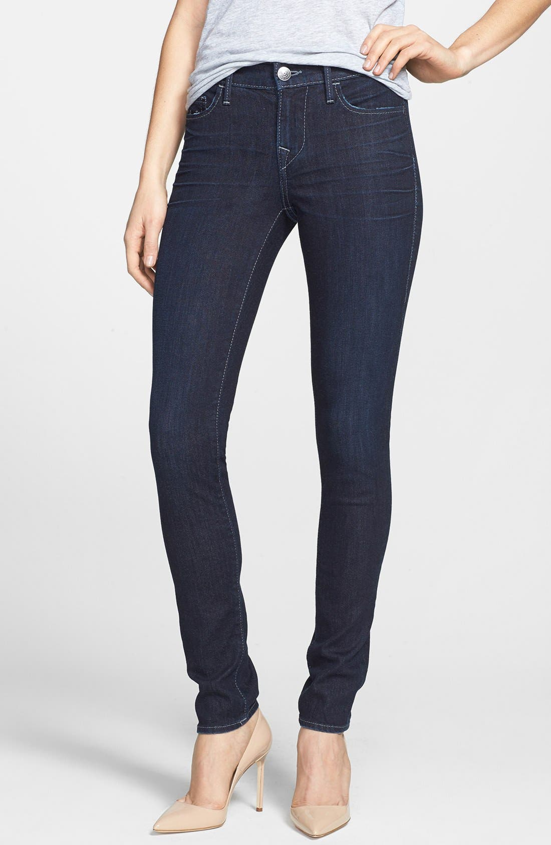 Alternate Image 1 Selected - True Religion Brand Jeans 'Abbey' Super Skinny Jeans (Baltic Ink)