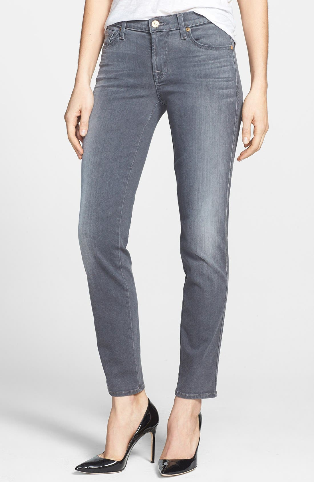 Alternate Image 1 Selected - 7 For All Mankind® Slim Straight Leg Jeans (Grey Sateen)