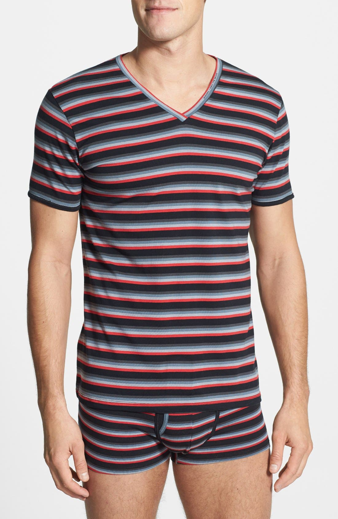 Alternate Image 1 Selected - DIESEL® 'Michael' Striped V-Neck Undershirt