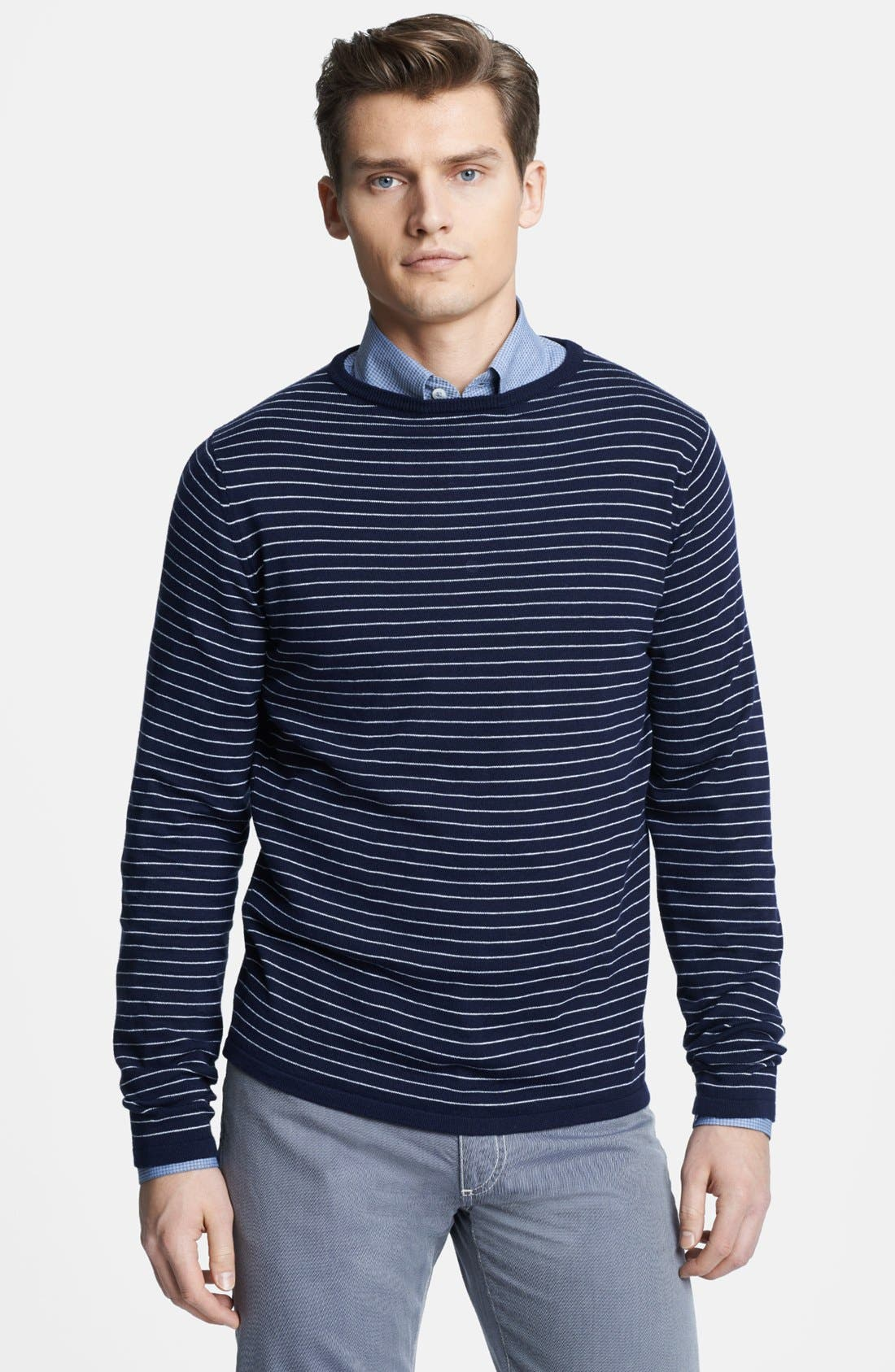 Main Image - Canali Striped Crewneck Italian Sweater