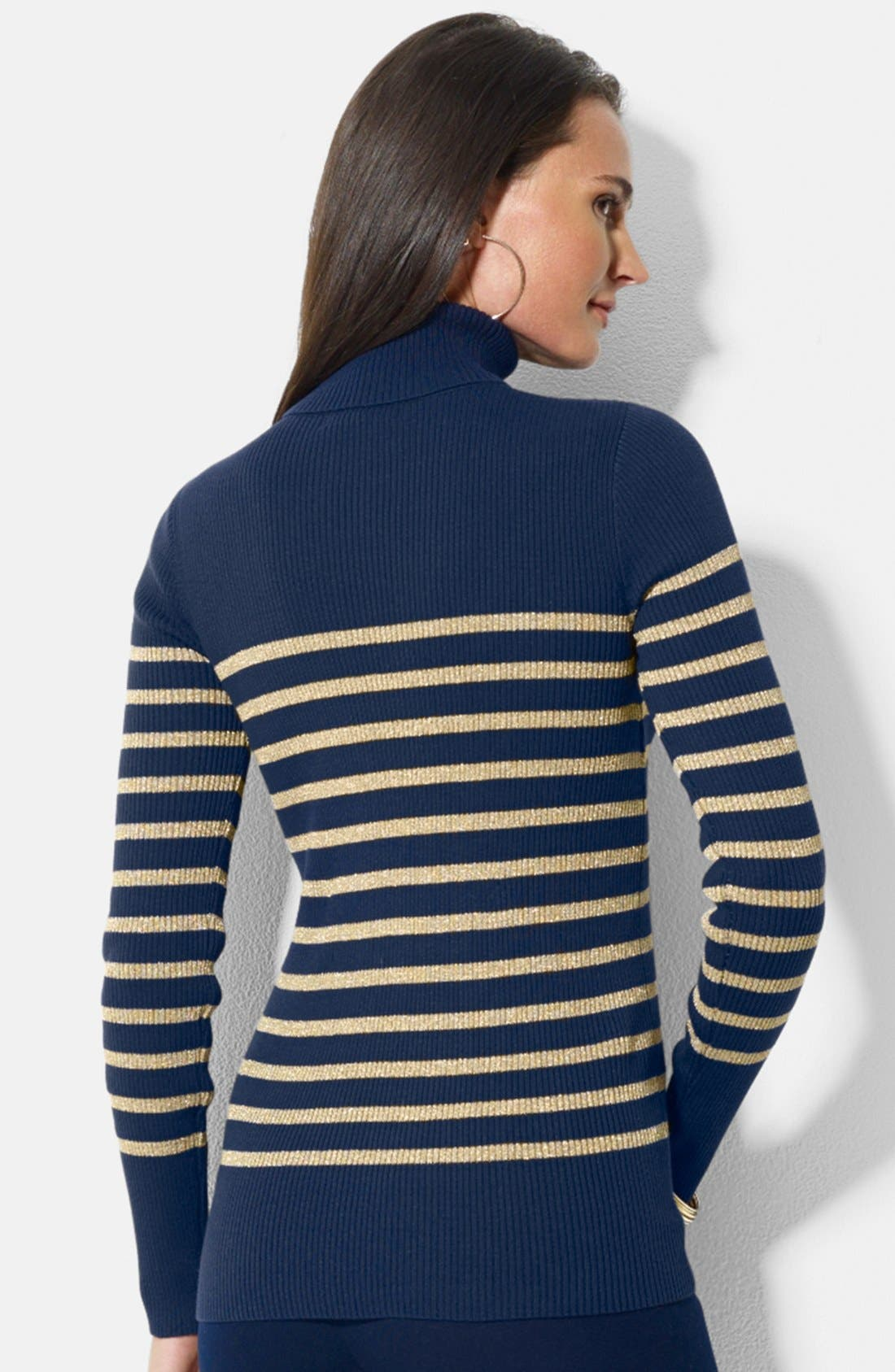 Alternate Image 2  - Lauren Ralph Lauren Stripe Ribbed Turtleneck Top (Petite)
