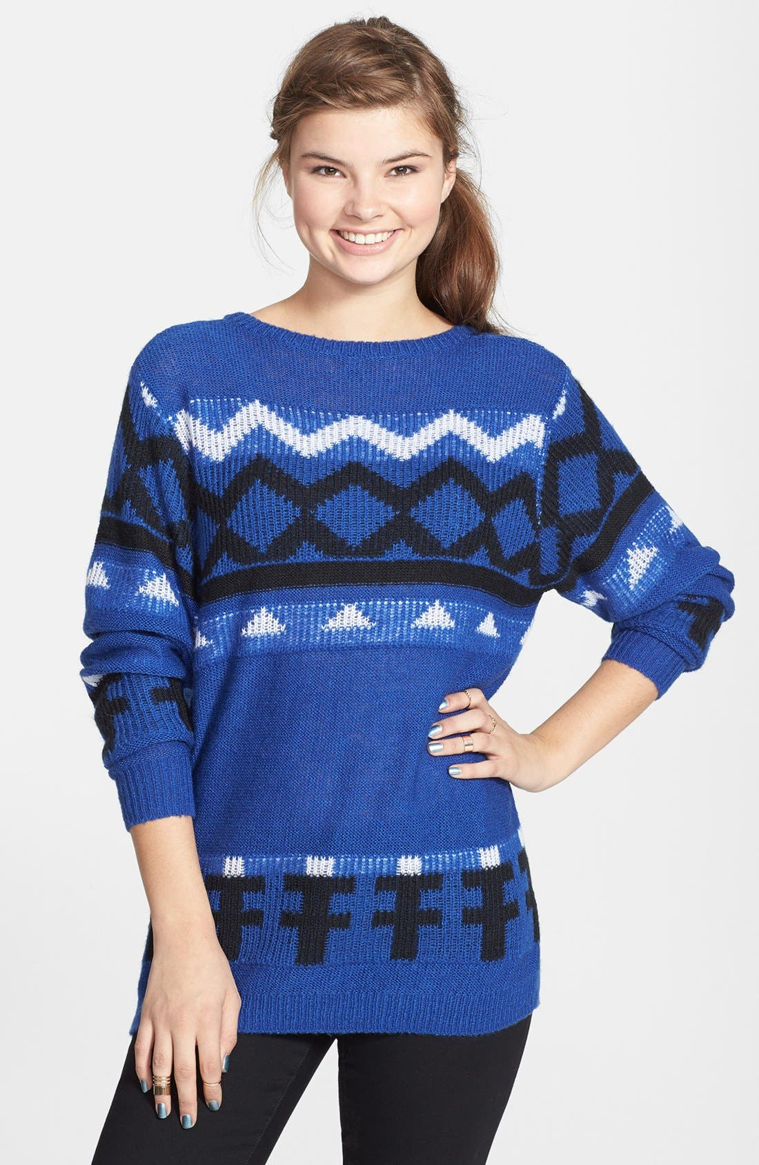 Alternate Image 1 Selected - BP. Geometric Pattern Pullover (Juniors)