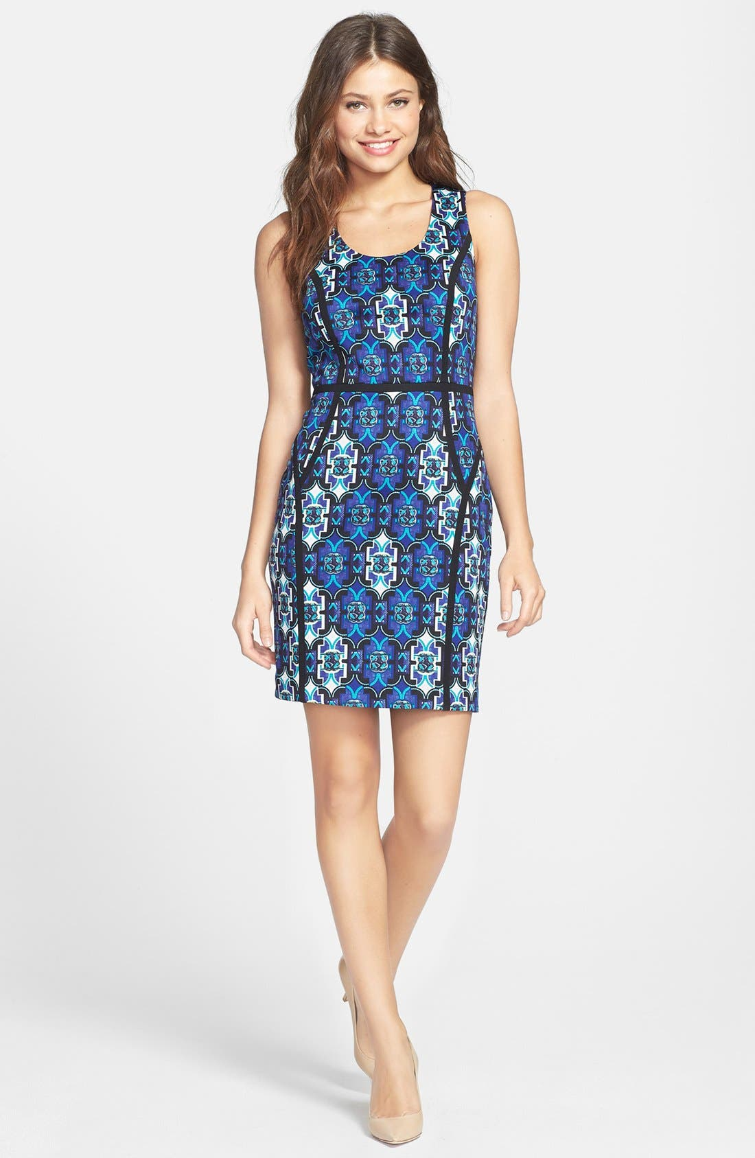Main Image - Marc New York by Andrew Marc Seamed Print Ponte Sheath Dress