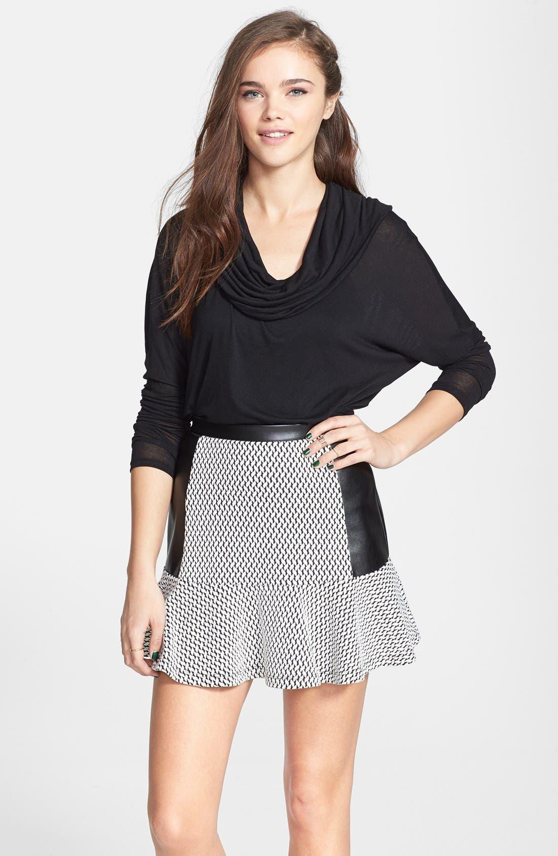 Main Image - Soprano Mixed Media Ruffle Skirt (Juniors)