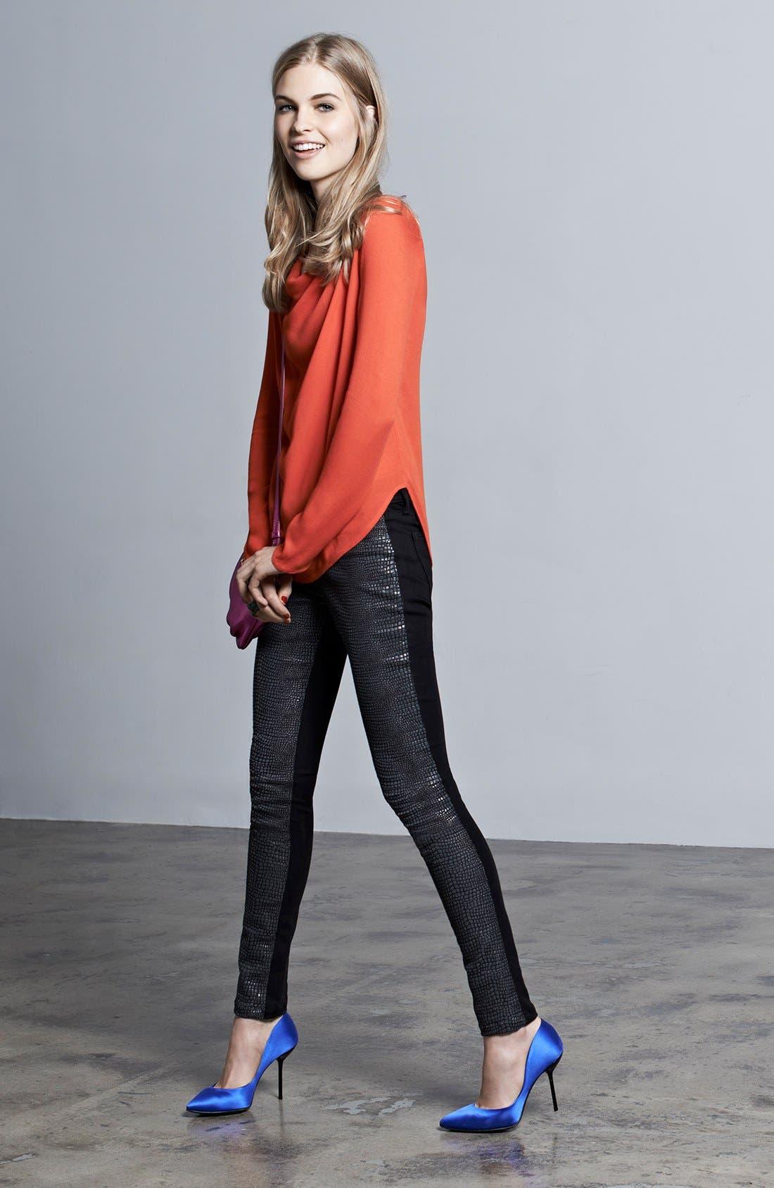 Alternate Image 4  - DL1961 'Emma' Metallic Front Skinny Jeans (Python)