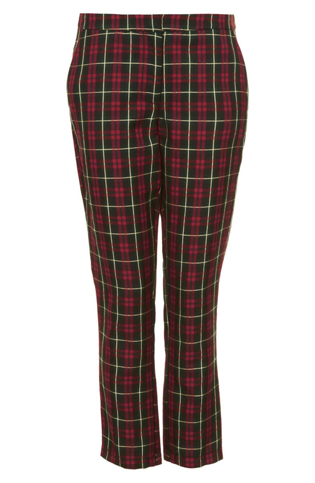 Alternate Image 3  - Topshop Plaid Crop Trousers