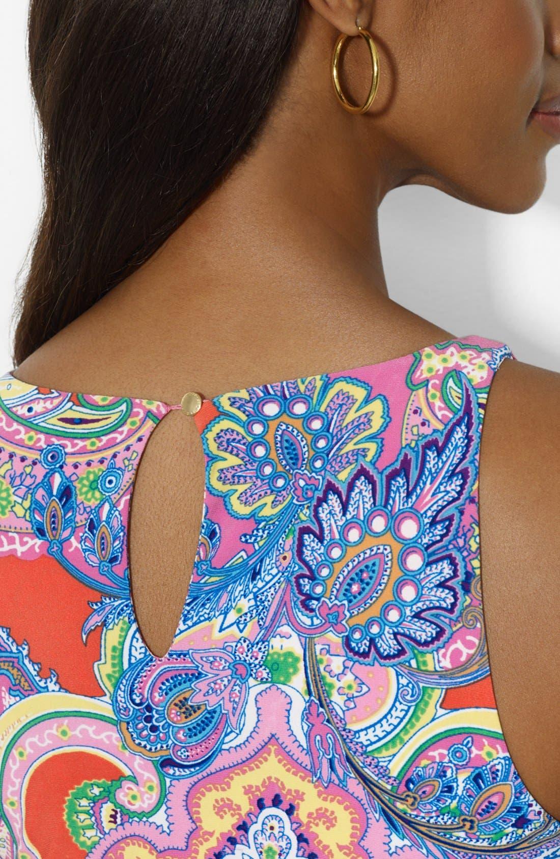 Alternate Image 3  - Lauren Ralph Lauren Paisley Print Sleeveless Crewneck Dress (Petite)