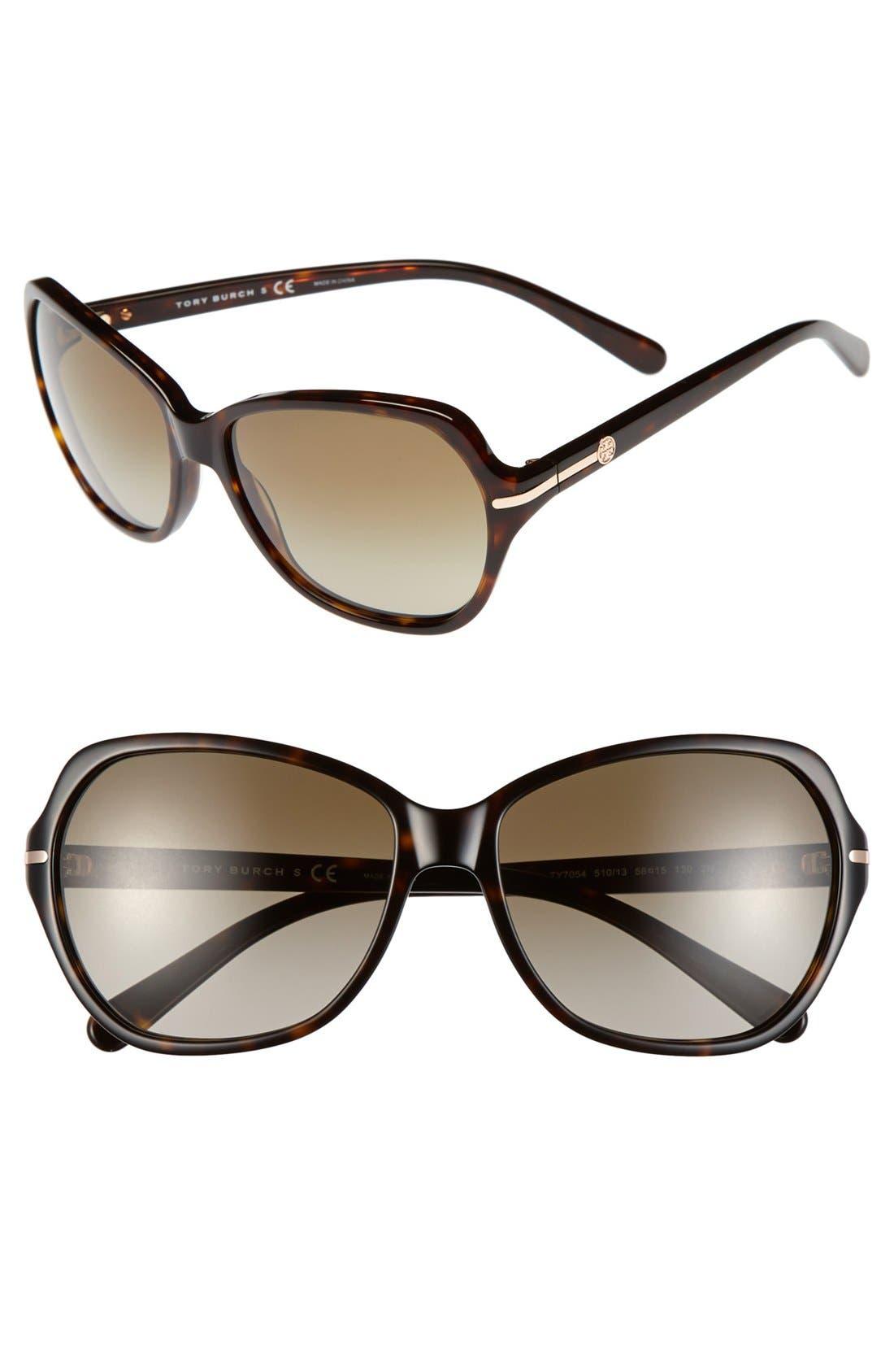 Main Image - Tory Burch 58mm Logo Bar Square Sunglasses