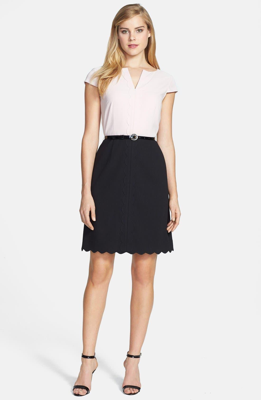 Alternate Image 1 Selected - Tahari Two-Tone Crepe Fit & Flare Dress