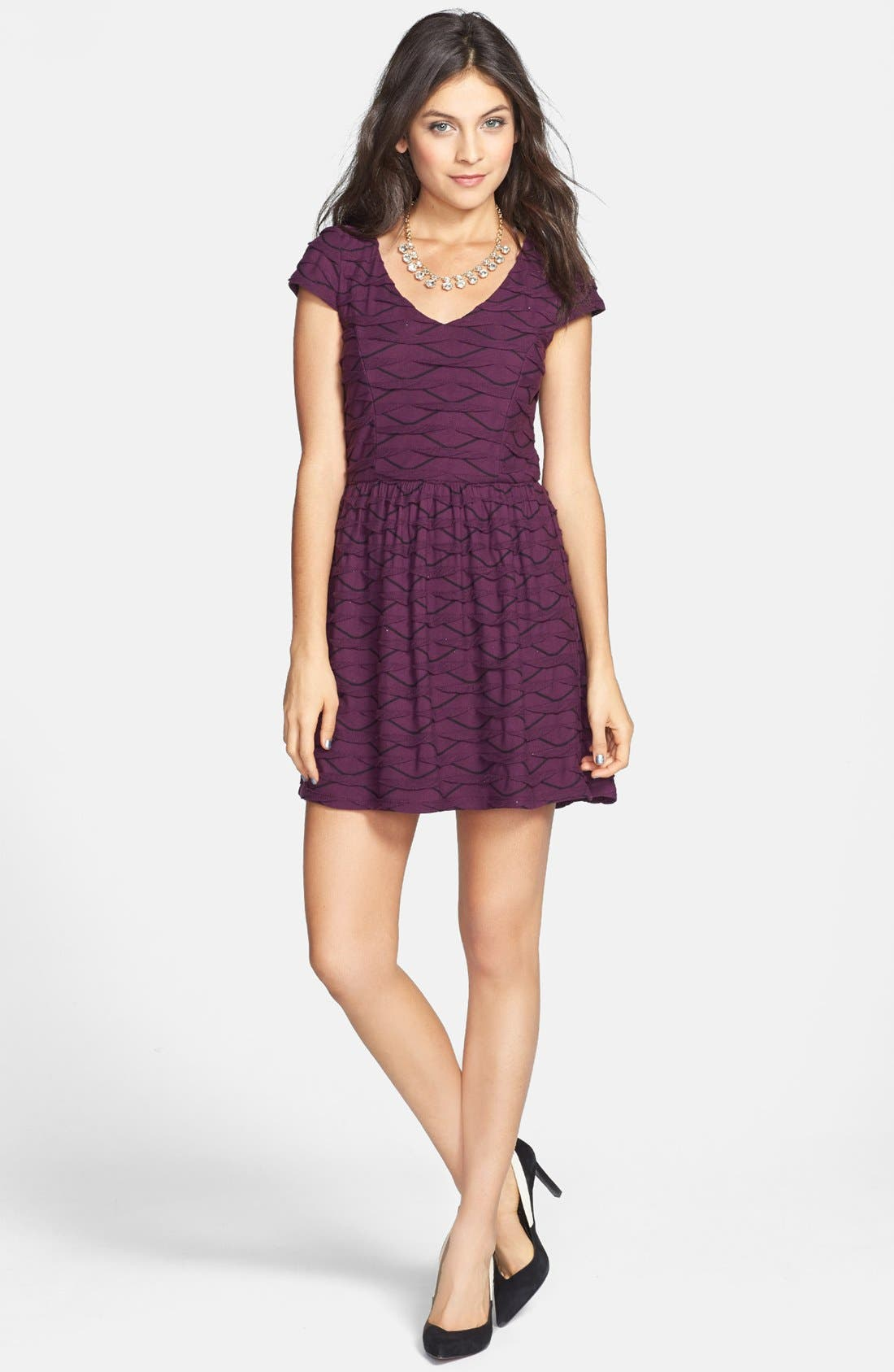 Main Image - Socialite Ruffled Skater Dress (Juniors)