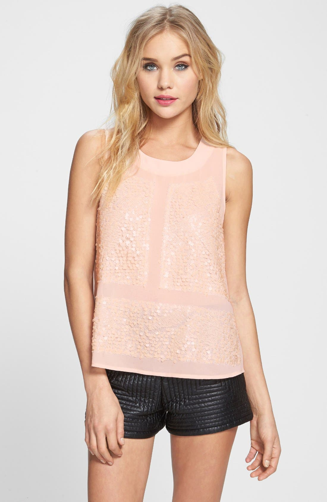 Alternate Image 1 Selected - ASTR Sequin Front Chiffon Tank