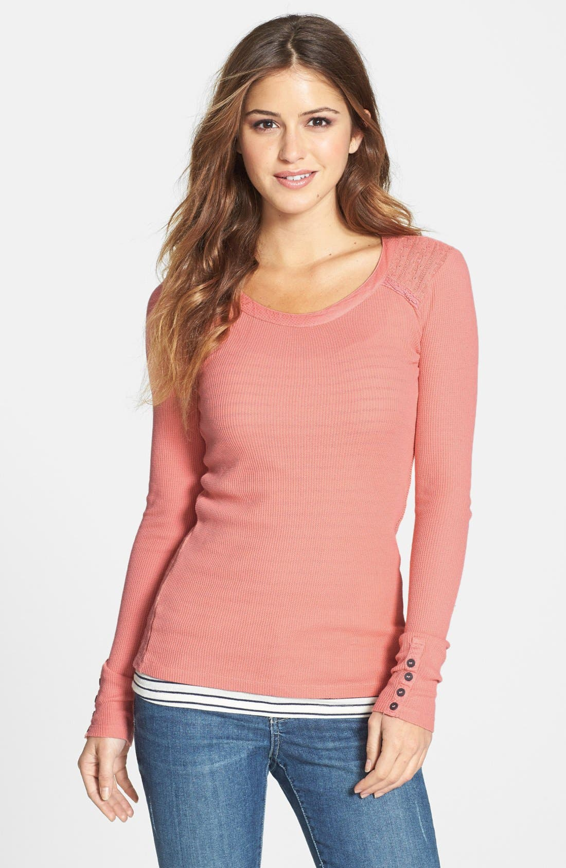 Alternate Image 1 Selected - Lucky Brand Sweater Back Thermal Knit Top