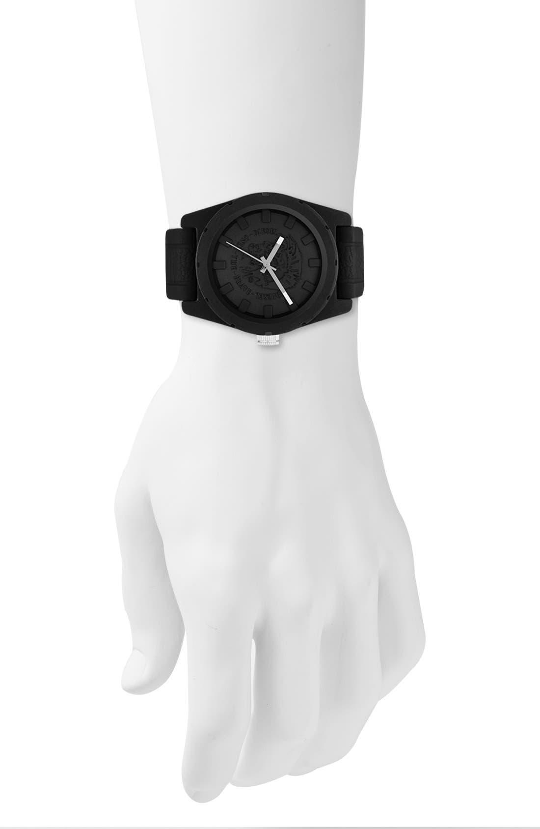 Alternate Image 2  - DIESEL® 'NSBB' Logo Dial Silicone Strap Watch, 46mm
