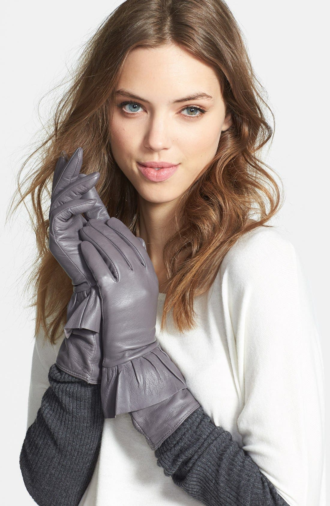 Main Image - Echo Peplum Leather Gloves