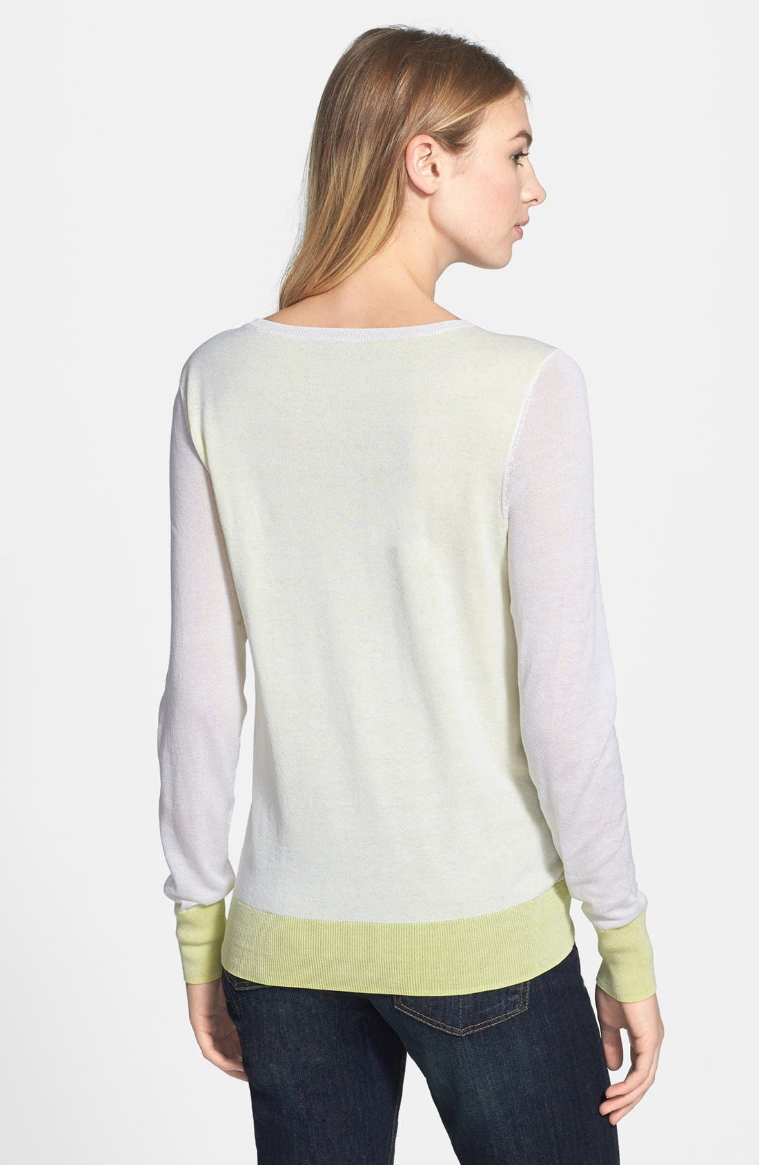Double Layer Sweater,                             Alternate thumbnail 2, color,                             White/ Lime Soda
