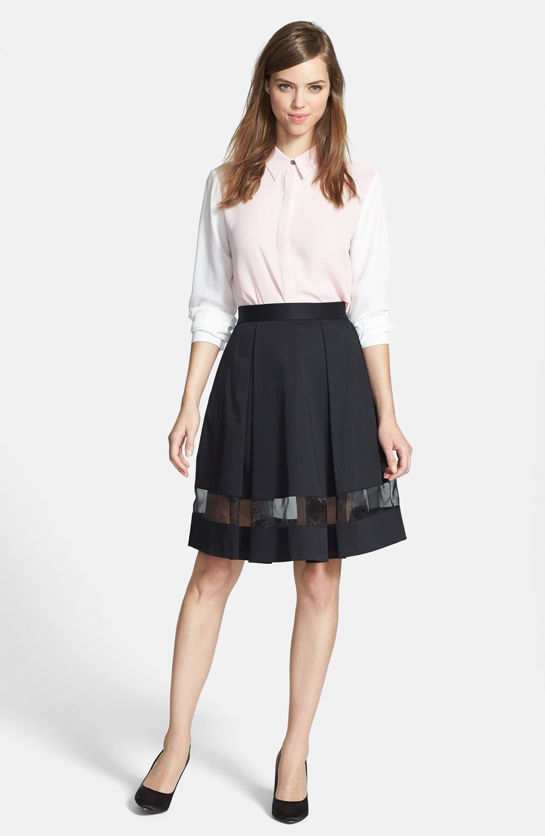 Alternate Image 4  - Vince Camuto Sheer Inset Pleated Skirt