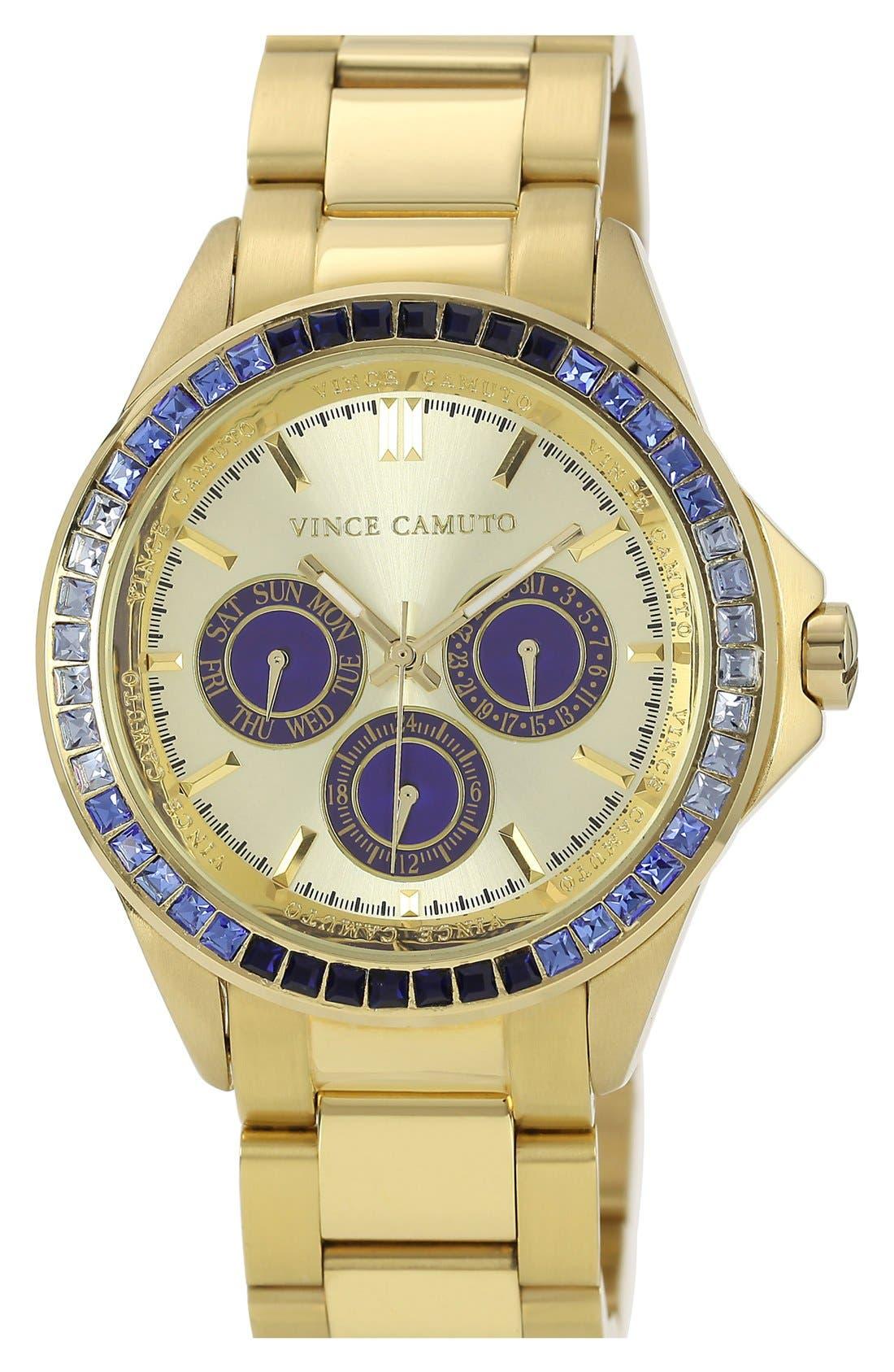 Main Image - Vince Camuto Round Crystal Bezel Bracelet Watch, 42mm